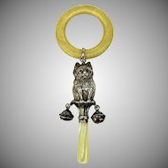 19th Century sterling silver full figure Cat rattle with bells and teething ring