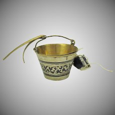 Vintage Russian silver gilt & Niello bucket shaped tea ball infuser with original tag