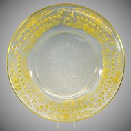 """Stevens and Williams engraved gilded glass plate or under tray 9 3/8"""""""