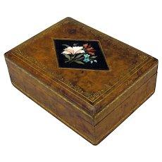 Antique Pietra Dura stone inlaid desk top cigar box