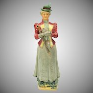 Victorian figural majolica bottle Edwardian Lady with umbrella