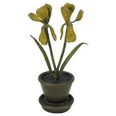 Antique cold painted Vienna bronze flowerpot menu place card holder yellow Iris