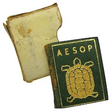 1943 miniature leather bound doll sized book AESOP in slip cover