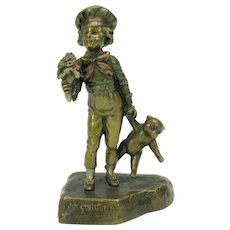 Rare vintage Austrian bronze figure Boy with Teddy Bear