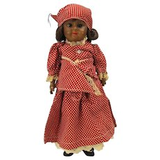 """Black AM 1894 bisque head doll in all original """"Mammy"""" clothes 13"""""""