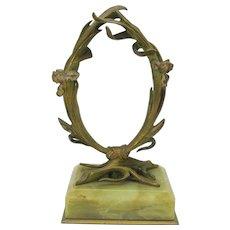 Art Nouveau bronze & marble watch or portrait miniature holder