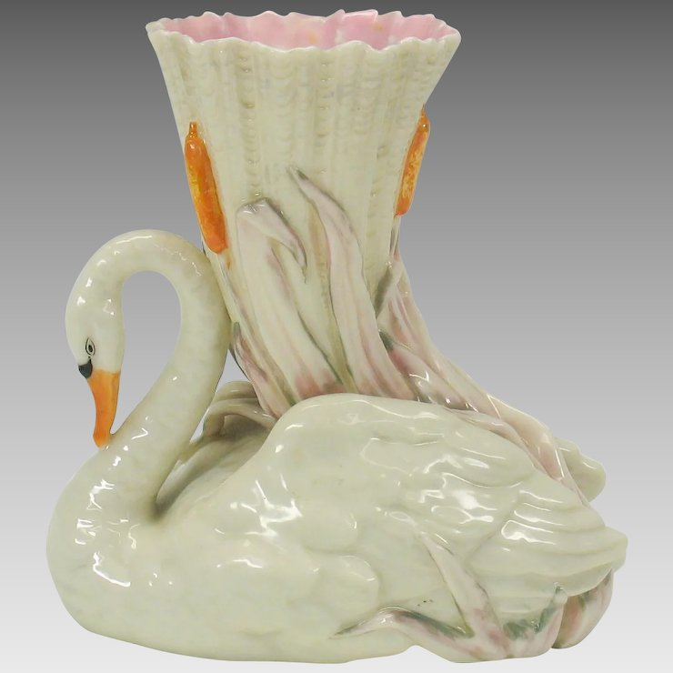 Rare Royal Worcester Figural Swan Vase Quirky Antiques Ruby Lane