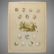 Rarest set 7 figural Japanese Satsuma buttons Immortal Gods
