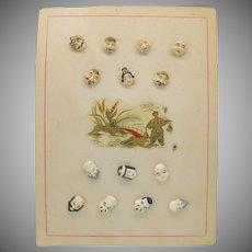Rarest set 7 figural Japanese Satsuma buttons Immortal Gods