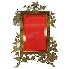 Large Art Nouveau floral bronze table photo picture frame marked M Paris