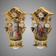"""Huge pair Museum quality Paris porcelain portrait vases 16"""" 3D flowers cobalt & gold"""