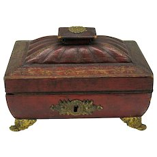 Regency red tooled leather sewing box or caddy
