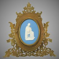 Large Victorian engraved bronze table frame with Wedgwood plaque of Lady reading a book