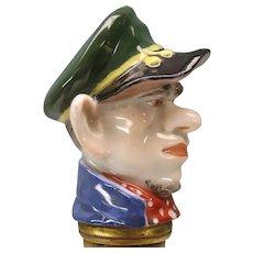 Early Meissen porcelain walking stick cane handle-Man in a cap