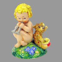 Vintage Postcard illustrator Agnes Richardson porcelain figure of girl with Teddy bear