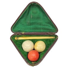 Antique novelty Billiards Pool Snooker pipe set in original triangle box