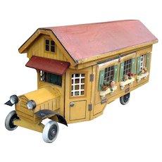 Antique Gottschalk red roof Automobile dollhouse