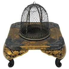 18th Century Japanese lacquer Cricket cage in miniature table form Edo period