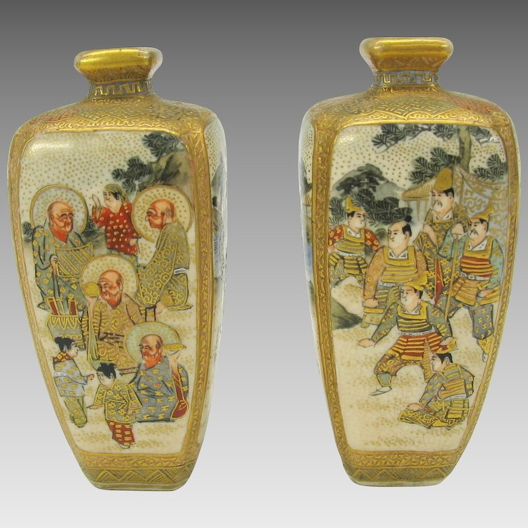 Pair Miniature Japanese Satsuma Vases With Warriors Immortals And
