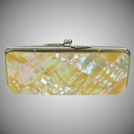 Large Victorian mother of pearl paneled ladies change purse
