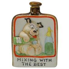 Schafer Vater Bonzo type dog whisky flask or bottle German bisque