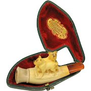 Antique Meerschaum pipe of two dogs Bulldogs