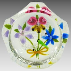 Vintage Perthshire glass paperweight Dragonfly signed P cane