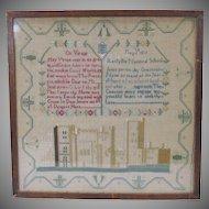 1822 Welsh needlework sampler Llanfyllin National School Wales