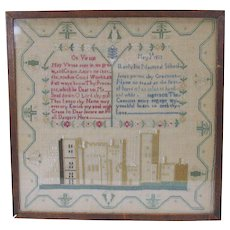1822 Welsh needlework sampler Llanfyllin National School Wales