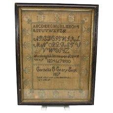 1817 American needlework sampler Cornelia Crary Boston
