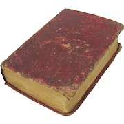 """1841 Red leather bound doll size miniature book 3 1/2"""""""