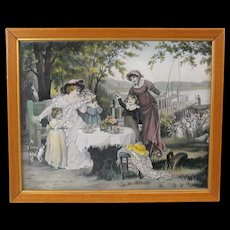 Antique colored woven silk picture of an outdoor tea party with child, cat, Mother and maid