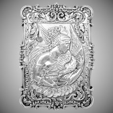 American coin silver calling card case featuring the Goddess Hebe & 3D Cathedral