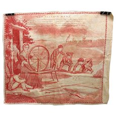 1800's red copperplate printed cloth handkerchief Boys playing Marbles The Village Dame