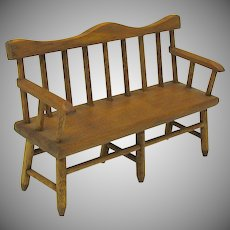 Vintage dollhouse miniature Colonial wooden 3 seat bench chair artist signed
