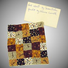 Vintage artist made dollhouse patchwork quilt by Donna Lowell CT