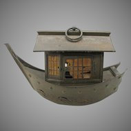 Chinese Art Deco tin lantern in the form of a boat or Junk