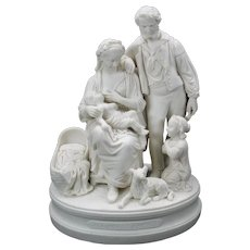 "Fine 1850's parian porcelain figure or group ""The happy family"""
