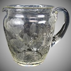 Large American engraved glass pitcher with Poppies ABP