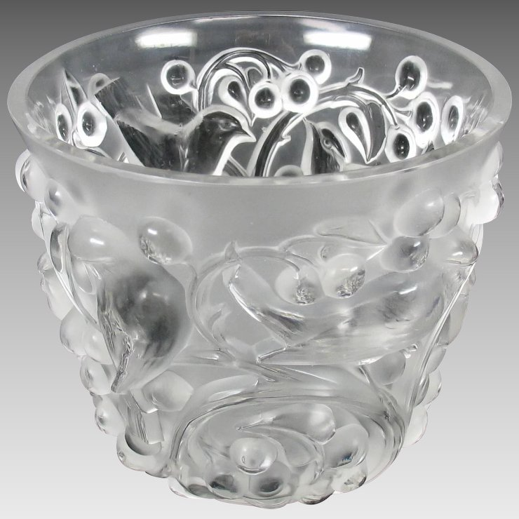 Vintage Lalique Glass Avallon Vase With Birds Berries Frosted