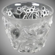 Vintage Lalique glass Avallon vase with birds & berries frosted