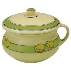 Roseville Juvenile pottery child's lidded chamber pot potty with chicks