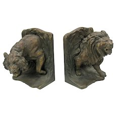 Bradley & Hubbard cast iron bookends with Lions all original