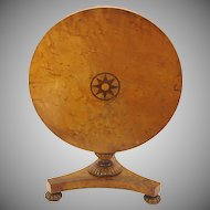 Early miniature birds eye maple inlaid tilt top table for dolls Salesman sample