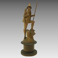 1800's carved wood figural box-Tyrolean hunter with rifle