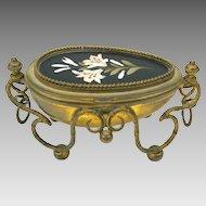 Palais Royal Pietra Dura & ormolu egg shaped dresser box Grand Tour