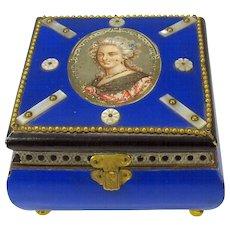 19th Century French Chocolate or bon bon box casket with Ladies portrait