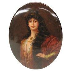 Fine antique hand painted porcelain portrait plaque signed