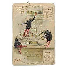Antikamnia Skeleton advertising calendar 1900