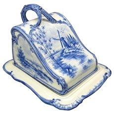 Royal Bonn Dutch Delft porcelain cheese dish keeper blue/white